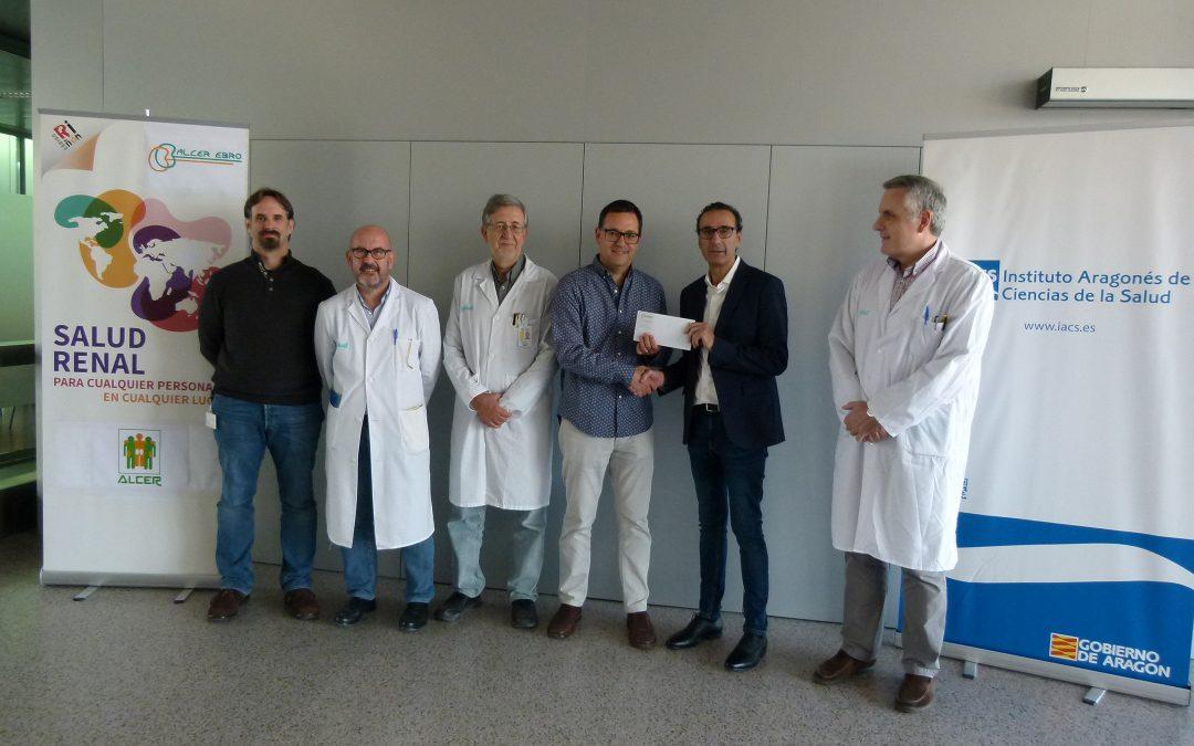 El grupo de investigación en patologías renales del IACS recibe una donación de la asociación de pacientes Alcer Ebro